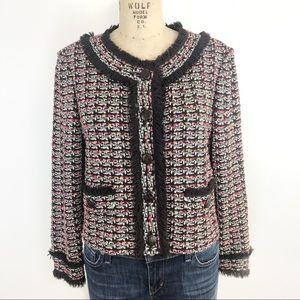 St. John eyelash trim tweed cropped jacket size 12